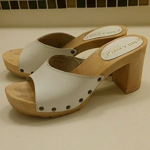 Mila Paoli white leather studded slide heel sandal